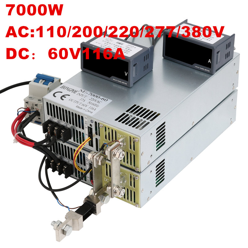 7000W 60V 116A 0-60V power supply 60V 116A AC-DC High-Power PSU 0-5V analog signal control DC60V 116A 110V 200V 220V 277VAC