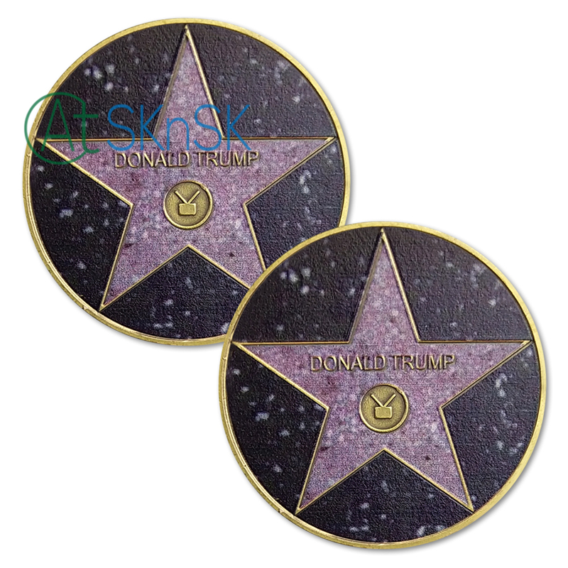 1PC's Trump Presidential US Challenge Coin Hollywood Walk of Fame Star USA Gifts MAGA <font><b>KAG</b></font> POTUS Commemorative Coins Collectibles image