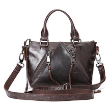 2016 New Women Fashion Design Tassel Handbag Female Genuine Leather Messenger Bag Vintage Retro Ladies Shoulder Bag with Zipper