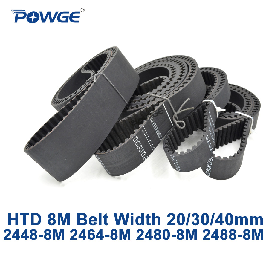 POWGE HTD 8M synchronous Timing belt C=2448/2464/2480/2488 width 20/30/40mm Teeth 306 308 310 311 HTD8M 2448-8M 2464-8M 2480-8M