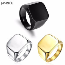 JAVRICK New Fashion Square Big Width Signet Rings 24K Fashion man Finger Silver Men Ring Titanium Steel Jewelry