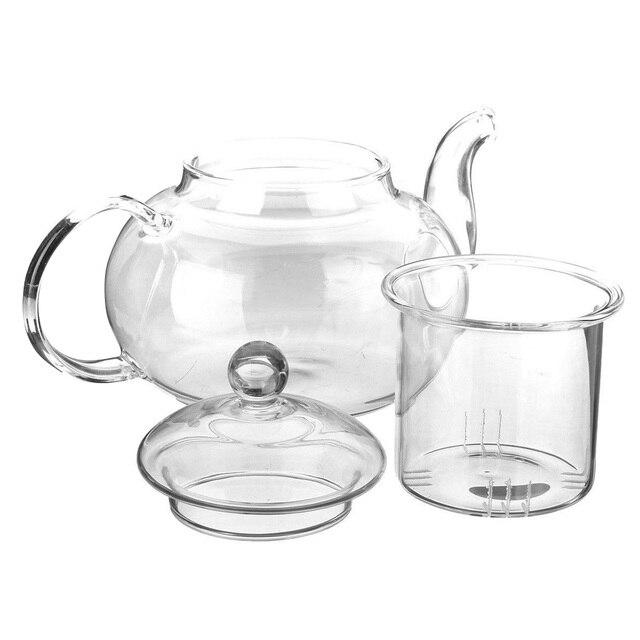 600ml/800ml/1000ml Transparent Pyrex verre service à thé fleur théière haute température bouilloire en verre