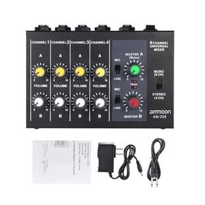 Image 3 - Ammoon BIN 228 Ultra kompakte Mischen Konsole Geräuscharm 8 Kanäle Metall Mono Stereo Audio Sound Mixer mit power Adapter Kabel