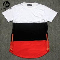 Summer Style Mens T Shirts White Black Red Patchwork Golden Side Zipper Swag T Shirt Streetwear