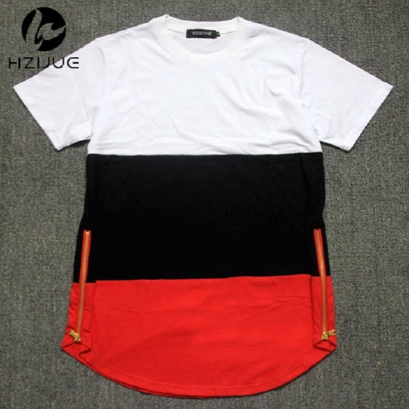 Estilo del verano para hombre camisetas blanco negro rojo remiendo dorado cremallera lateral swag camiseta streetwear hip hop camisetas camisetas extendidas