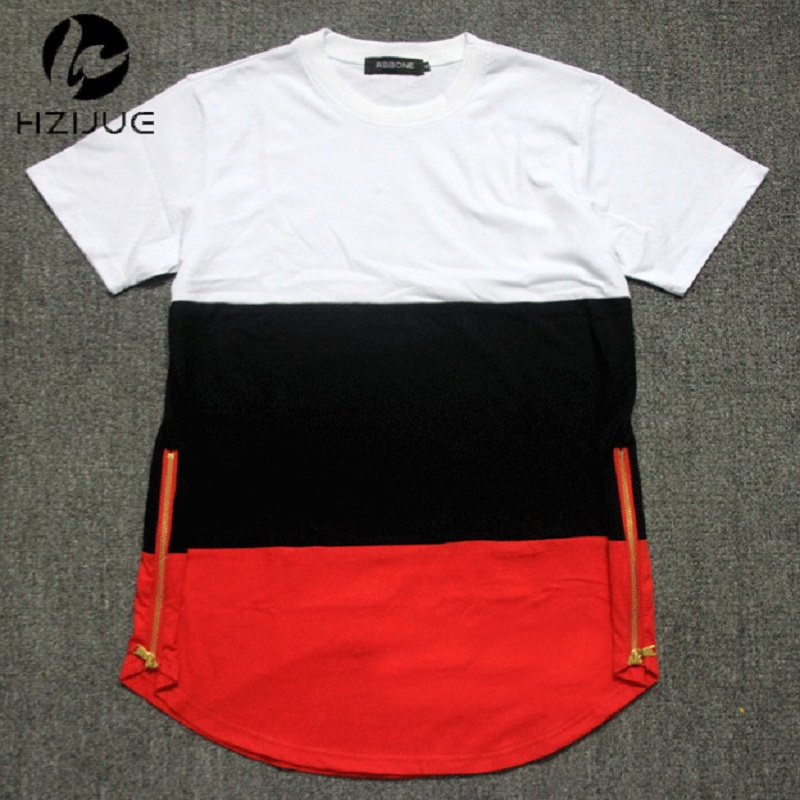 Musim panas gaya mens t shirt putih hitam merah patchwork sisi emas ritsleting swag t shirt streetwear hip hop t shirt ...