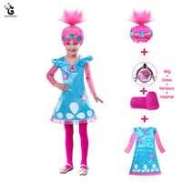Halloween Kids Costumes Girls.Kids Costumes Girls Dresses Trolls Poppy Costume Dress For Girls Halloween Costumes For Kids Carnaval Fancy Dress Girl Wig