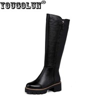 YOUGOLUN Women Knee High Boots Autumn Winter 100 Litchi Grain Leather Motorcycle Shoes Square Heel 5