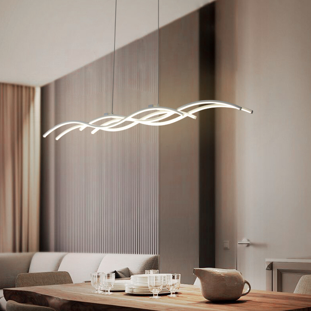 New creative wave modern LED chandelier kitchen acrylic coffee shop bar decoration LED white restaurant chandelier lighting