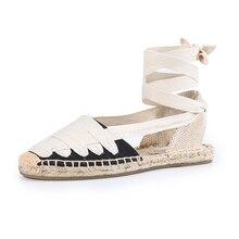 Sandales pour femmes, chaussures en toile, avec bande élastique, Espadrilles plates éternelle, décontracté sans lacet