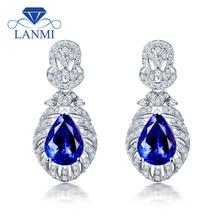 LANMI серьги-капли с натуральным синим танзанитом, 14 к белое золото, настоящий бриллиант, Женские Ювелирные изделия для женщин, вечерние ювелирные изделия, подарок