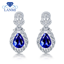 LANMI Natural Blue Tanzanite Stone Drop Earring Solid 14K White Gold Real Diamond Ladies Jewelry For Women Party Jewelry Gift