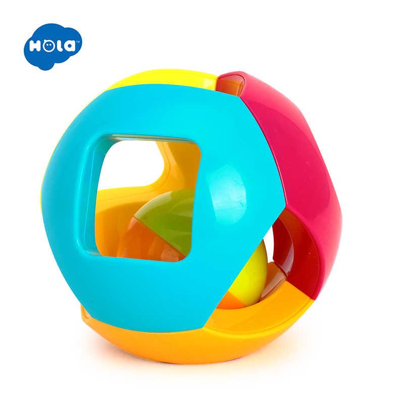 HOLA 939-5 เด็กของเล่น Bell Ball รูปทรงเรขาคณิตพลาสติก Rolling Ball และ Baby Rattle การเรียนรู้ของเล่นเพื่อการศึกษา 0 -12 เดือน