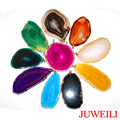 JUWEILI Jewelry Mixed Colors 6pcs Different Natural Stone Agate Slice Druzy Energy Reiki Pendant Charm Super Popularity Amulet