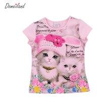 2017 мода лето domeiland дети марка одежды для детей девушки с коротким рукавом печати 3d кот хлопок футболки топы детские одежда(China (Mainland))