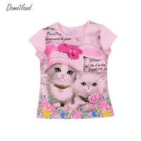 2017 Fashion Summer Children Brand Clothing For Kids Girl Short Sleeve Print 3d Cat Cotton Tee