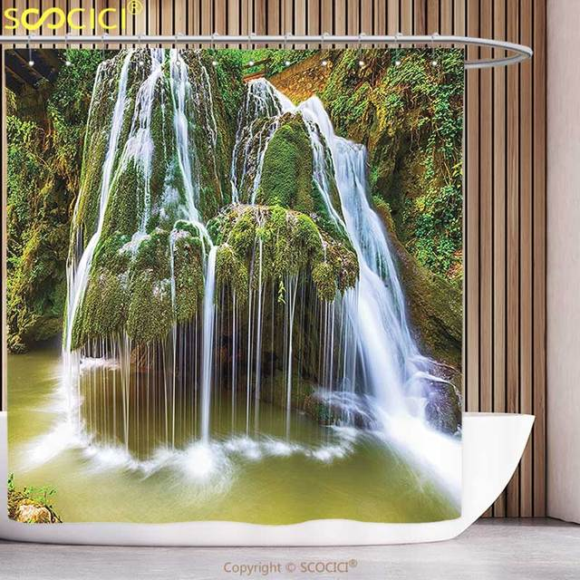 Stylish Shower Curtain Waterfall Decor Water Falls To Lake Above Rock Umbrella Covered With Botanic Plants