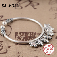 Vintage 100 Pure 925 Sterling Silver Jewelry Auspicious Elephant Charms Bangles For Women Gift About 17cm