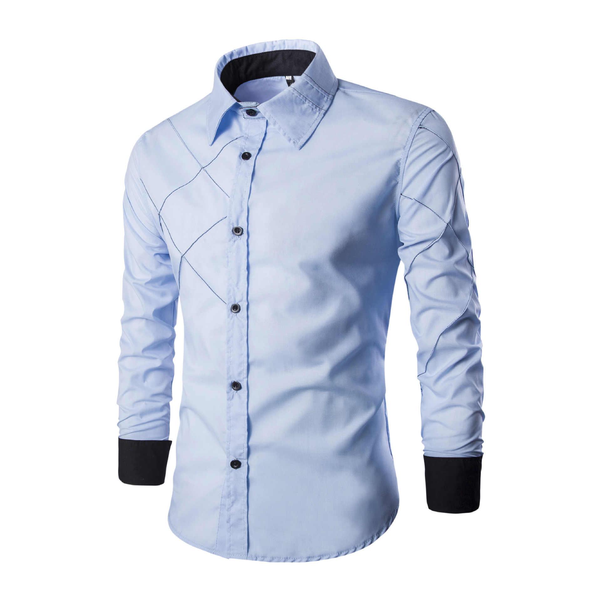 7af4dcf0084 Мужская рубашка 2019 весна новый бренд бизнес Мужская Slim Fit платье рубашка  мужская с длинным рукавом