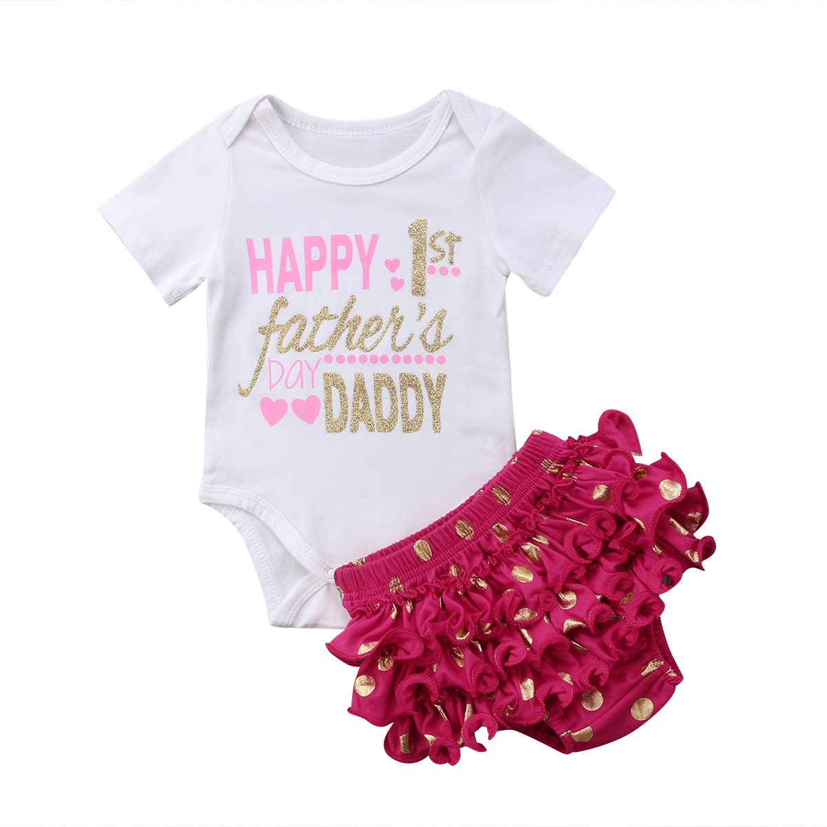 Happy 1st Fathers Day Newborn Infant Baby Girl Short Sleeve Letter Romper Tops+polka Dot Ruffles Baby Bloomers Shorts 2pcs Set Mother & Kids Girls' Baby Clothing