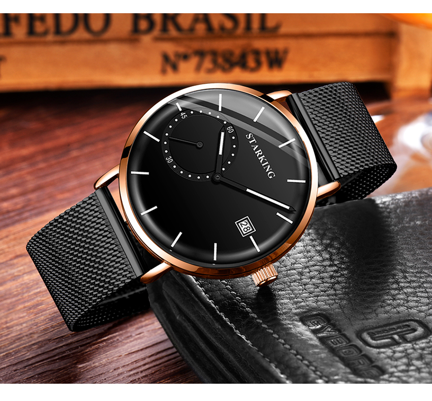 HTB1qhFyefWG3KVjSZFgq6zTspXaU STARKING Dress Men Watch Steel Mesh Band Quartz Analog Wristwatch 3ATM Waterproof Curved Glass Blue Male Clock Relogio Masculino
