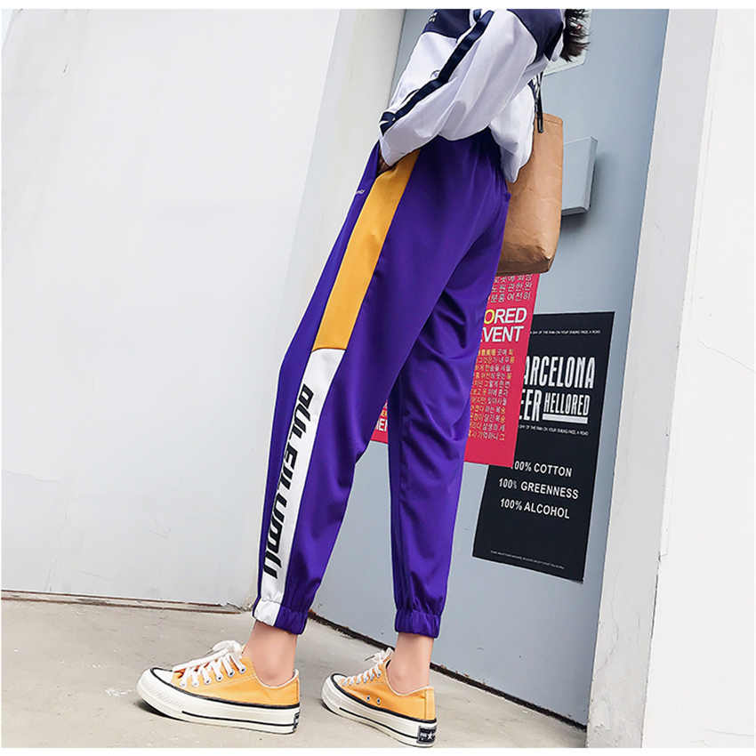High Waist Track Pants Women Hip Hop Uniforms Sweatpants Casual Loose Female Trousers Nightclub Elastic Joggers pantalones mujer