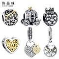Original 925 Sterling Silver Coração de Cristal, Carro abóbora Charme Beads Fit Pandora Bracelet & Bangle Acessórios Jóias DIY Fazer