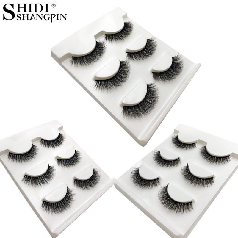 SHIDISHANGPIN 60 pairs wholesale mink eyelashes hand made false eyelash natural long 3d mink lashes makeup