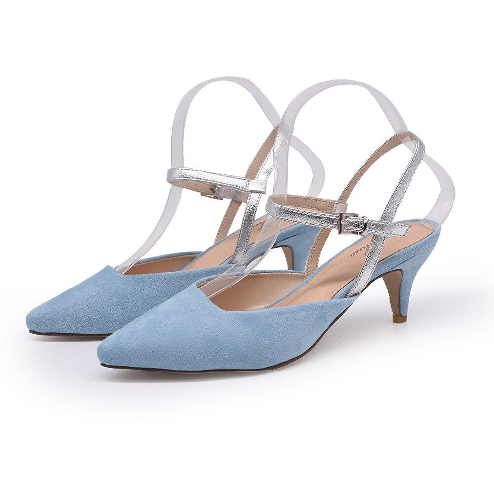En Dames Petite Ciel Chaussures Stiletto Blue Taille 40 Genshuo Escarpins Daim Slingback Talons Bout Chaton Sangle Pointu Sky Bleu 34 Exgq1