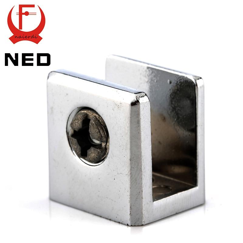 NED kare cam kelepçeleri çinko alaşım raf desteği parantez klipleri 10mm akrilik mobilya donanım