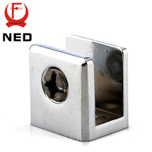 NED Square Glass Clamps Zinc Alloy Shelves Support Brackets Clips For 10mm Acrylic Furniture Hardware
