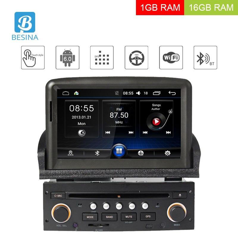 Besina 1 Din Android 6.0 Lecteur DVD de Voiture Pour Peugeot 307 2008 2009 2010 2011 Voiture multimédia GPS Navigation Radio WIFI Vidéo Audio