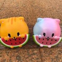 15CM Jumbo Rainbow Orange Watermelon Cat Squishy Phone Straps DIY Decor Kid Fun Toy Cute Animal