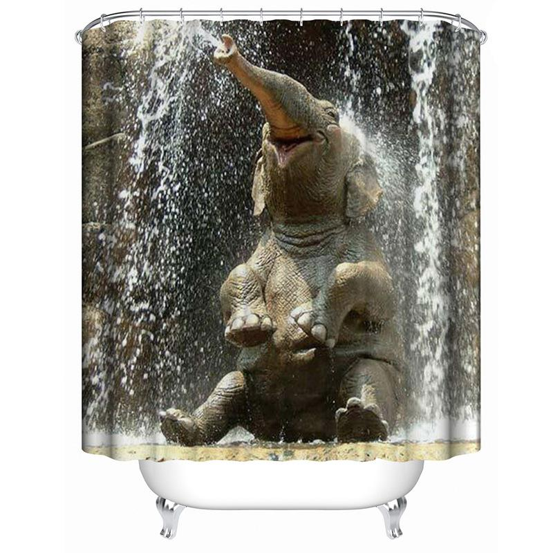 3D Elephant Shower Curtain Shower Curtains Waterproof Polyester Fabric Bathroom Curtains For Home Decor