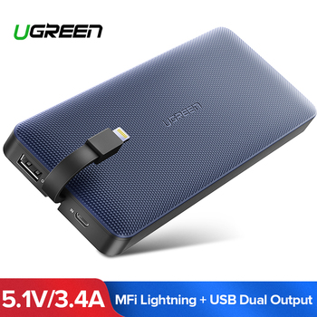 Ugreen Power Bank 10000 mAh Voor iPhone X 7 Xiaomi Externe Batterij Powerbank Voor USB iPhone Kabel Draagbare Oplader poverbank