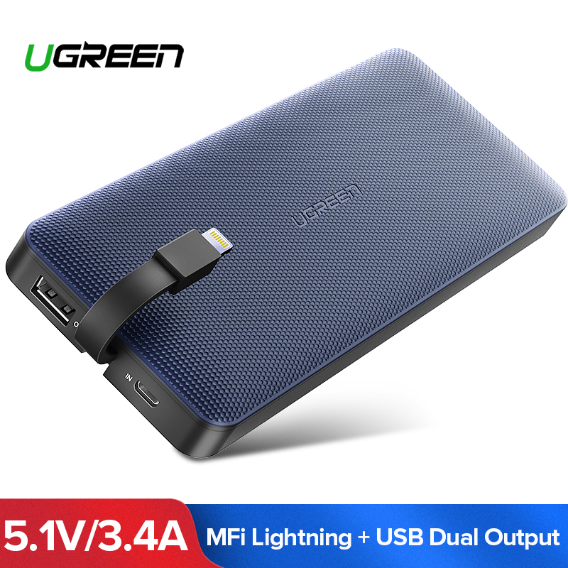 Ugreen banco de potencia 10000 mAh para iPhone X 7 Xiaomi Paquete de batería externa banco de energía para USB Cable iPhone cargador portátil poverbank