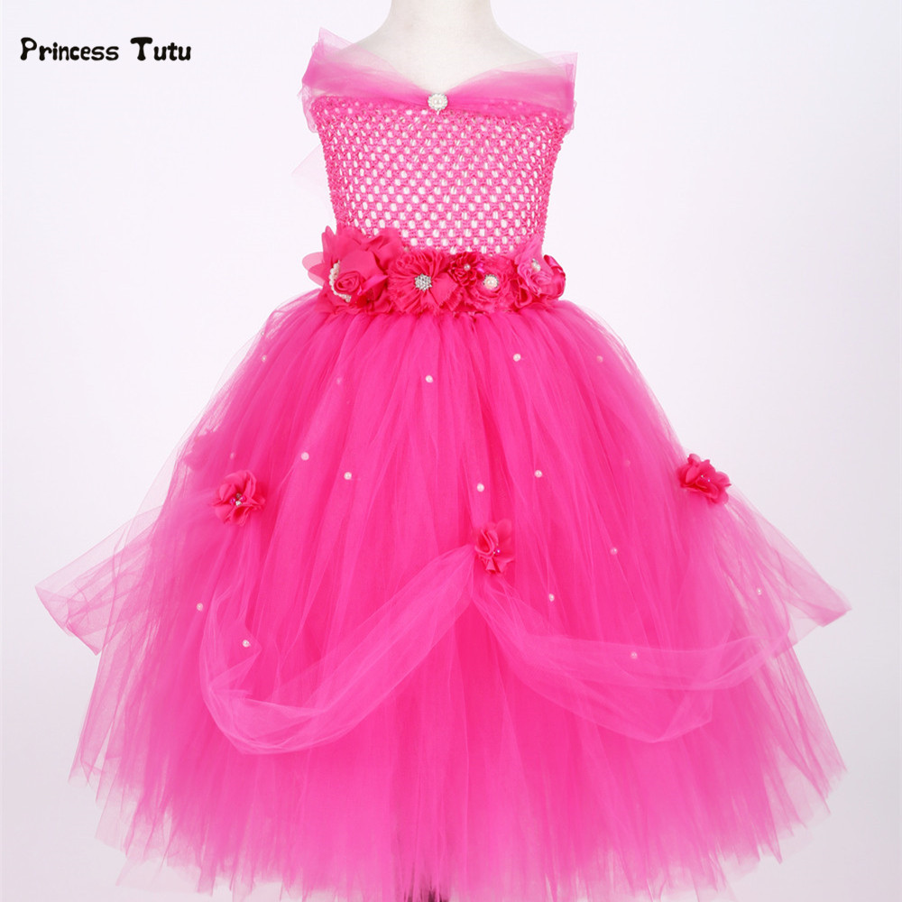 Baby Princess Dress Tulle Fancy Tutu Dress Baby Girl Toddler Party Halloween Beauty Beast Cosplay Costume 1 Year Birthday Dress