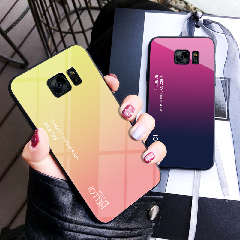 For <font><b>Samsung</b></font> Galaxy <font><b>S7</b></font> <font><b>edge</b></font> <font><b>Case</b></font> Luxury Hard Tempered Glass Fashion Gradient Protect Back Cover <font><b>case</b></font> For <font><b>samsung</b></font> <font><b>s7</b></font> s7edge shell image