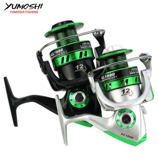 Best Offers NEW Wheels fish spinning reel 5.5:1 12Ball Bearing carretilhas de pescaria molinete fishing reel accessories 1000-7000series