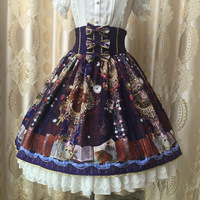 2019 Summer Sweet High Waist Skirt Vintage Kingdom Garden Printed Chiffon Skirt with Bow