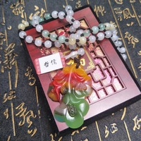 Send A level national certificate Natural colorful jade carving multi color orchid pendant Three color jade pendant chain