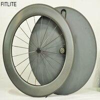 Fixed Gear Carbon Wheelset Front Tri Spoke Rear Disc Wheel Road Bicycle 3 Spoke Wheels