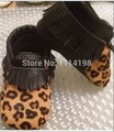 Venda quente Macio Moccs Meninas Bebe Sapatos de Couro Genuíno leopardo primeira walker Suave Para Fora Sola Mocassins Bebê frete grátis via fedex