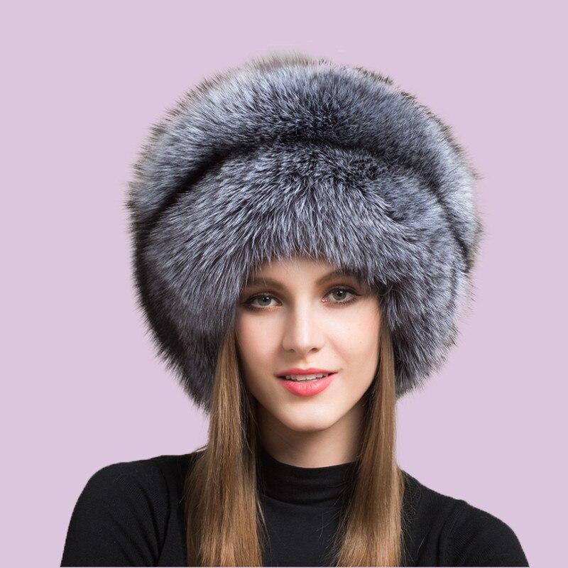 2020 Winter Women Fur Cap Real genuine natural Fox Fur Hats Headgear Russian Outdoor Girls Beanies Cap Ladies Warm Fashion Cap