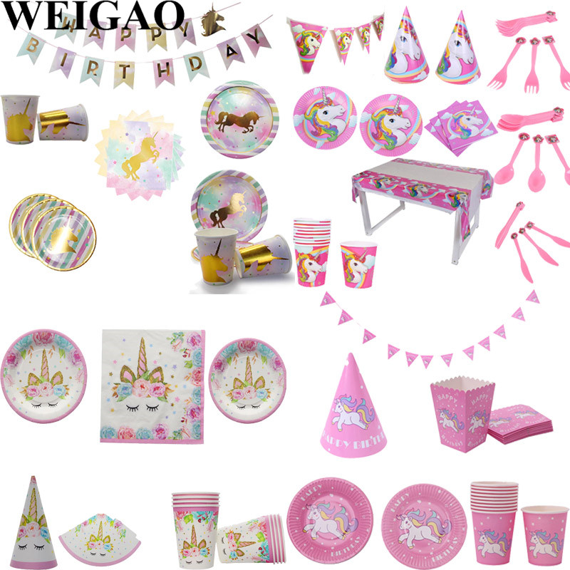 WEIGAO 1st Birthday Party Disposable Tableware Set Pink/Blue Paper Cup/Plate/Hat/Napkins ...