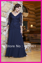 Navy Blue Plus Size Beaded Lace Long Sleeves Chiffon Mother of the Bride Dresses M317