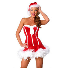 Sexy Red Color Wool Father Christmas Cosplay Costume Lingerie Stripe Women Dress With Hat Free Size BI22