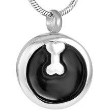 IJD9746 Dog Bone Round Black Enamel Pet Urn Pendant for Ashes Memorial Cremation Jewelry Women Man New Fashion Personalised