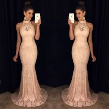 цена на sexy lace solid trumpet sleeveless empire off the shoulder halter new dresses spring mermaid banquet female dresses