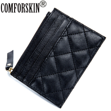 COMFORSKIN Brand New Arrivals 100% Sheep Skin Soft Coin Purses High Quality Multi-function Plaid Style Card Wallets 2018 Hot